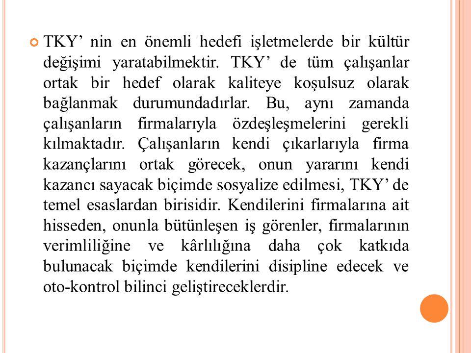 TKY' nin en önemli hedefi işletmelerde bir kültür değişimi yaratabilmektir.