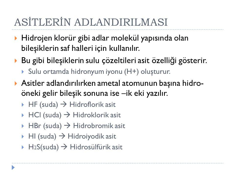 ASİTLERİN ADLANDIRILMASI