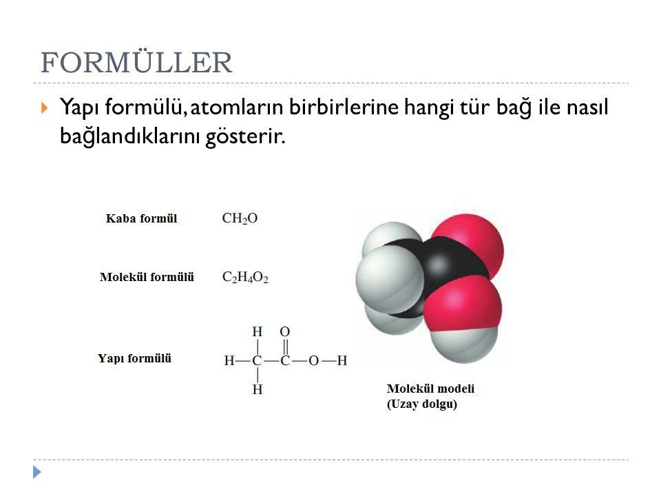 FORMÜLLER Yapı formülü, atomların birbirlerine hangi tür bağ ile nasıl bağlandıklarını gösterir.