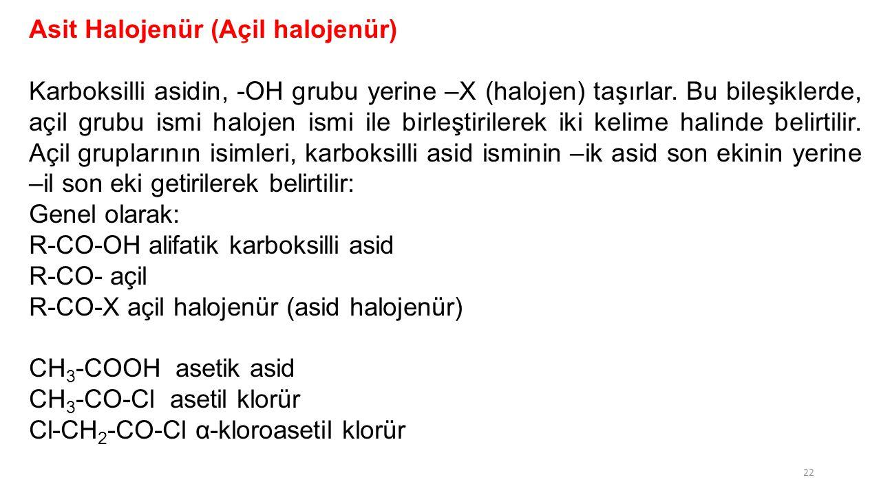 Asit Halojenür (Açil halojenür)