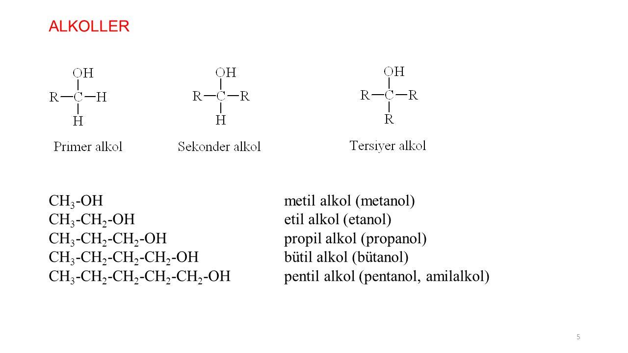 ALKOLLER CH3-OH metil alkol (metanol) CH3-CH2-OH etil alkol (etanol) CH3-CH2-CH2-OH propil alkol (propanol)