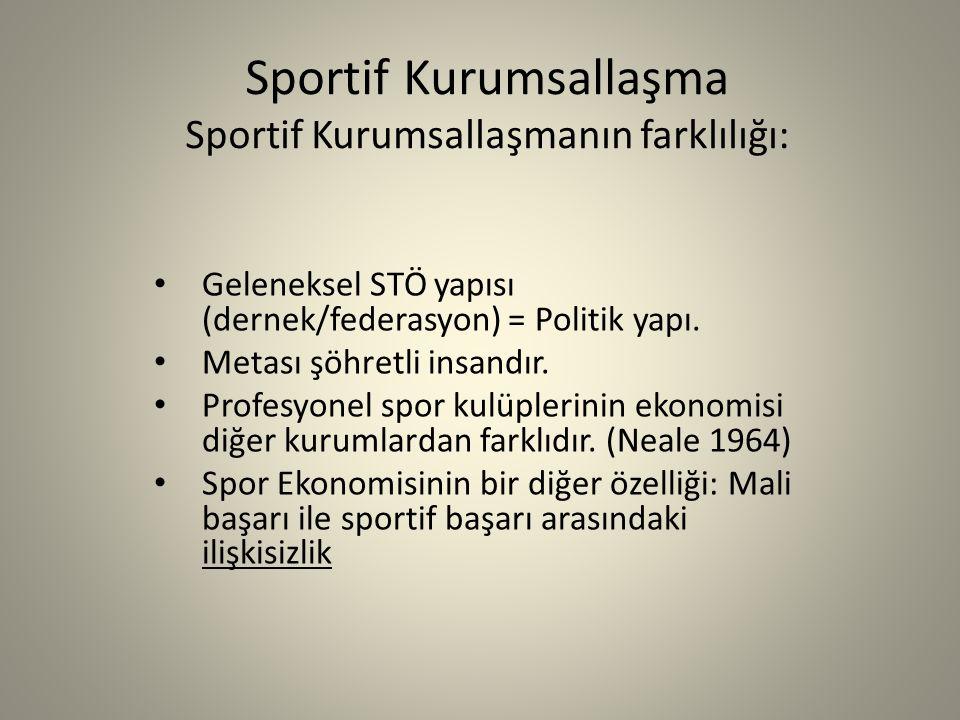 Sportif Kurumsallaşma Sportif Kurumsallaşmanın farklılığı: