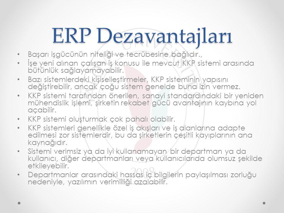 ERP Dezavantajları Başarı işgücünün niteliği ve tecrübesine bağlıdır.,