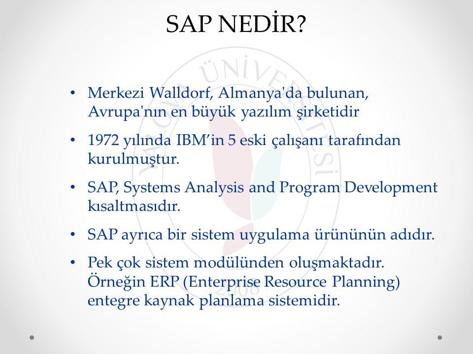 SAP NEDİR Merkezi Walldorf, Almanya da bulunan, Avrupa nın en büyük yazılım şirketidir. 1972 yılında IBM'in 5 eski çalışanı tarafından kurulmuştur.