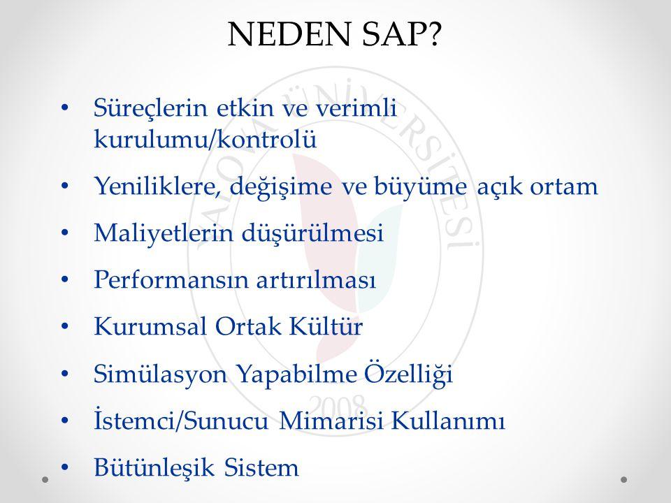 NEDEN SAP Süreçlerin etkin ve verimli kurulumu/kontrolü