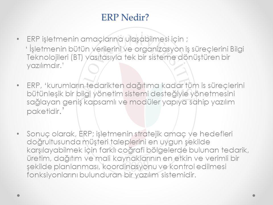 ERP Nedir ERP işletmenin amaçlarına ulaşabilmesi için ;