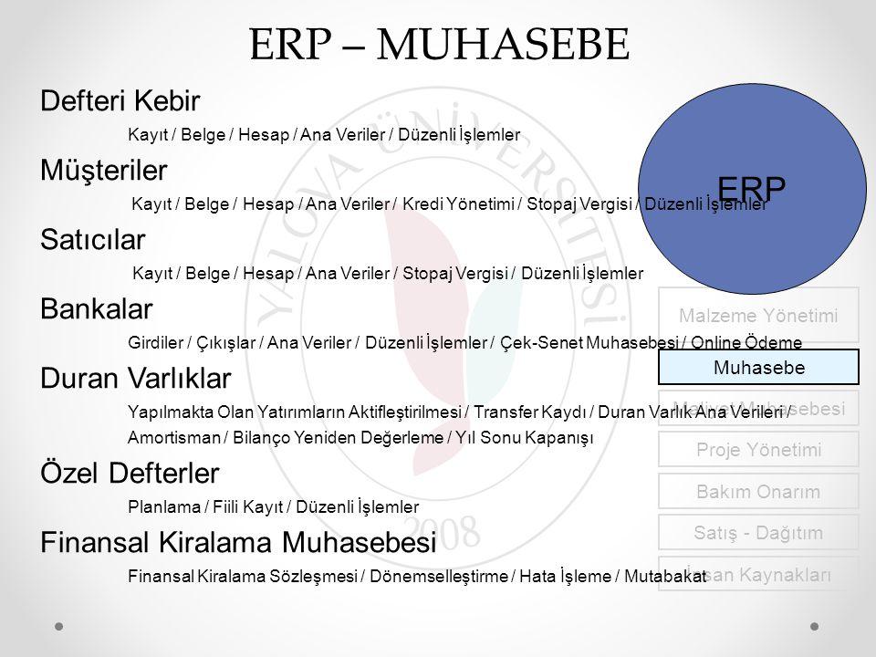 ERP – MUHASEBE ERP Defteri Kebir Müşteriler Satıcılar Bankalar