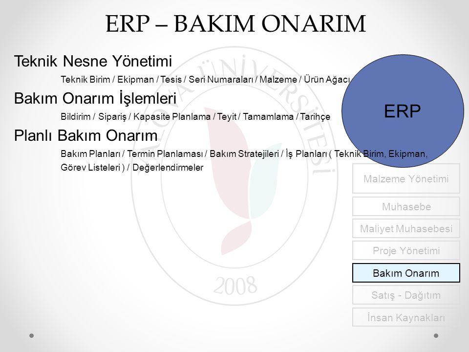ERP – BAKIM ONARIM ERP Teknik Nesne Yönetimi Bakım Onarım İşlemleri
