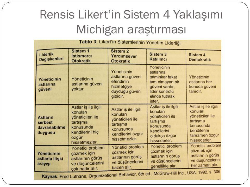 Rensis Likert'in Sistem 4 Yaklaşımı Michigan araştırması