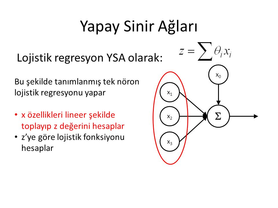 Yapay Sinir Ağları Lojistik regresyon YSA olarak: 