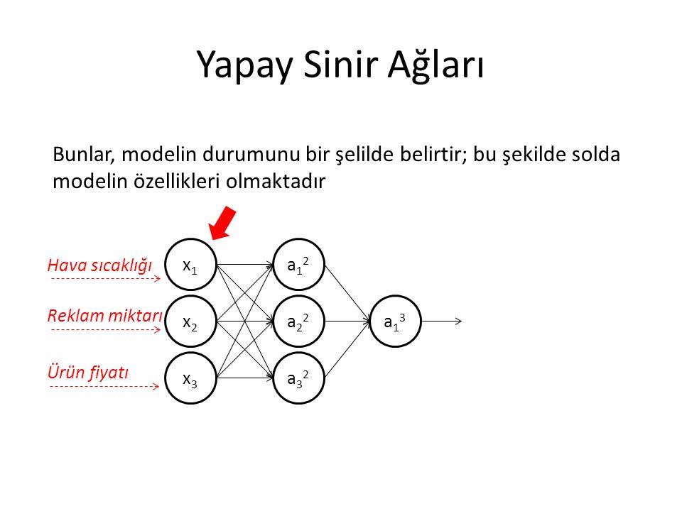Yapay Sinir Ağları Bunlar, modelin durumunu bir şelilde belirtir; bu şekilde solda modelin özellikleri olmaktadır.
