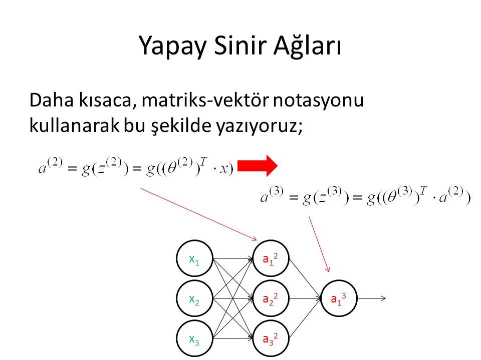 Yapay Sinir Ağları Daha kısaca, matriks-vektör notasyonu kullanarak bu şekilde yazıyoruz; x1. x2.