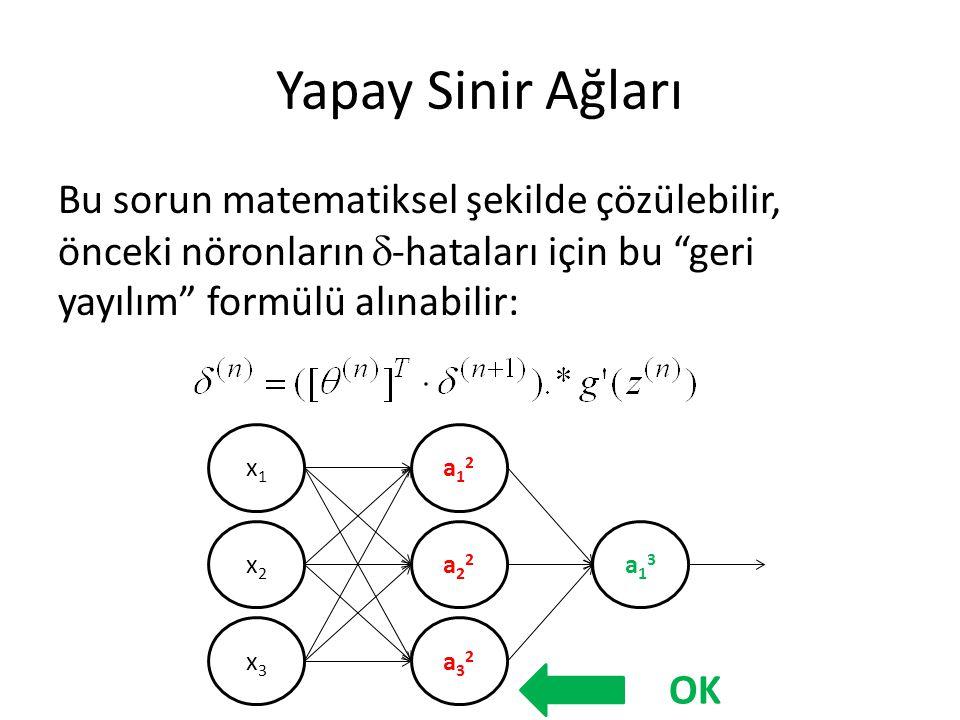 Yapay Sinir Ağları Bu sorun matematiksel şekilde çözülebilir, önceki nöronların -hataları için bu geri yayılım formülü alınabilir: