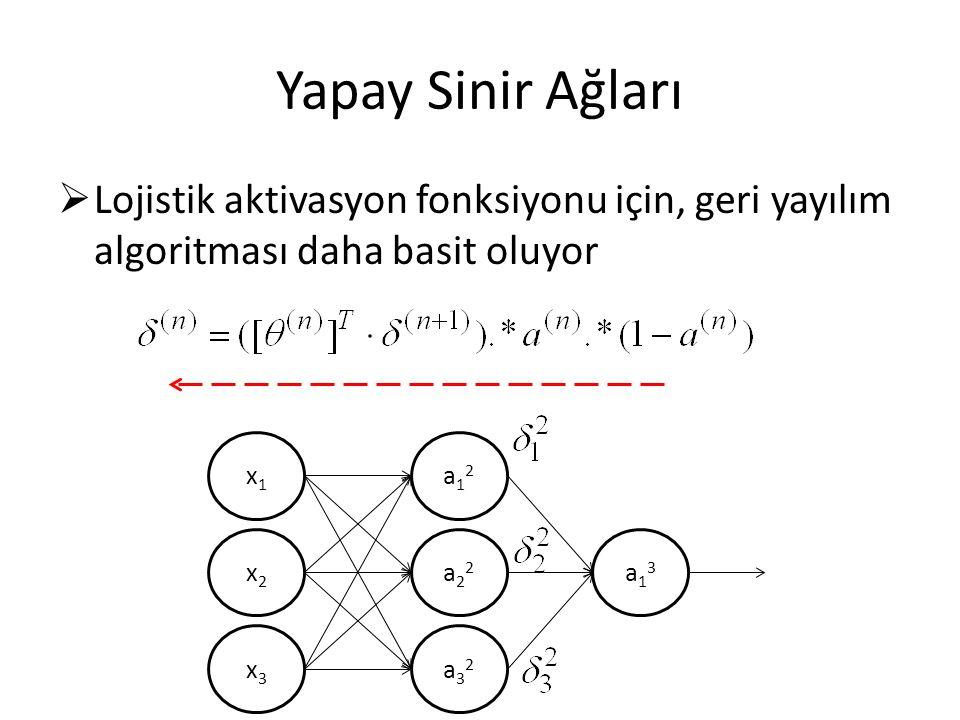 Yapay Sinir Ağları Lojistik aktivasyon fonksiyonu için, geri yayılım algoritması daha basit oluyor.