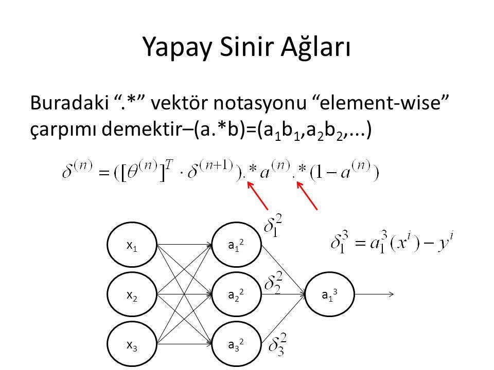 Yapay Sinir Ağları Buradaki .* vektör notasyonu element-wise çarpımı demektir–(a.*b)=(a1b1,a2b2,...)