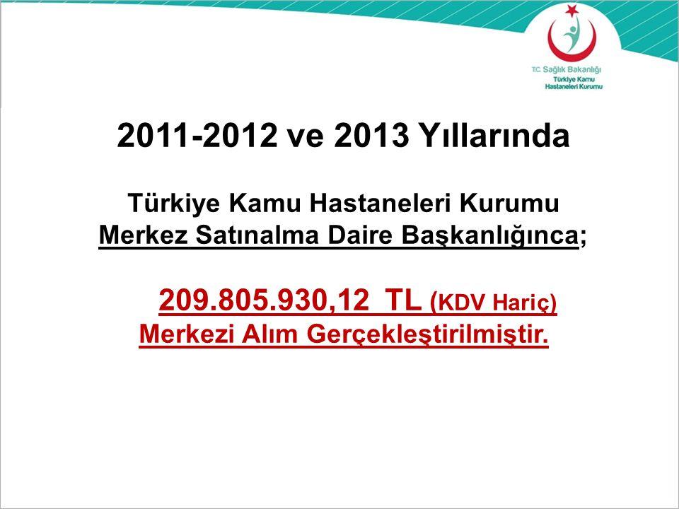 2011-2012 ve 2013 Yıllarında Türkiye Kamu Hastaneleri Kurumu