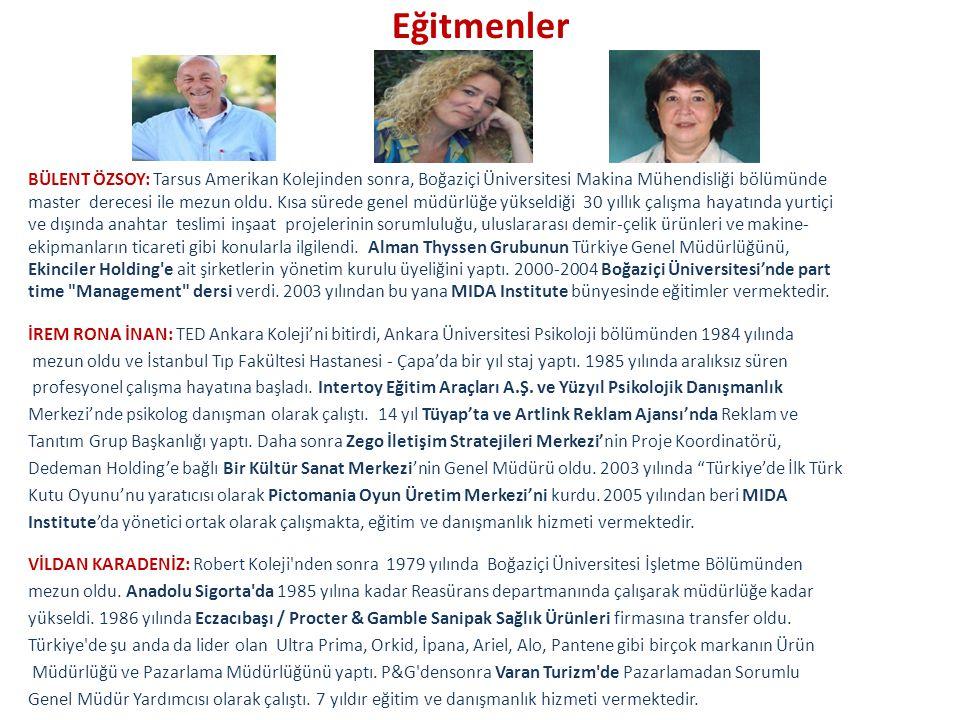 Eğitmenler BÜLENT ÖZSOY: Tarsus Amerikan Kolejinden sonra, Boğaziçi Üniversitesi Makina Mühendisliği bölümünde.