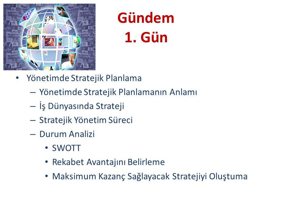Gündem 1. Gün Yönetimde Stratejik Planlama