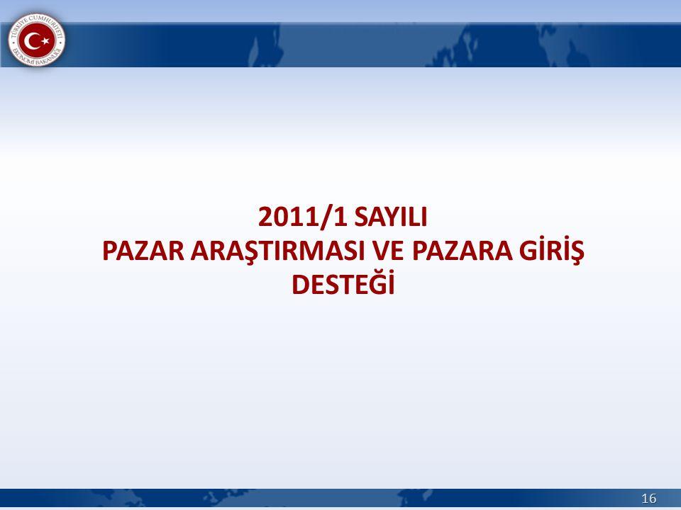 2011/1 SAYILI PAZAR ARAŞTIRMASI VE PAZARA GİRİŞ DESTEĞİ