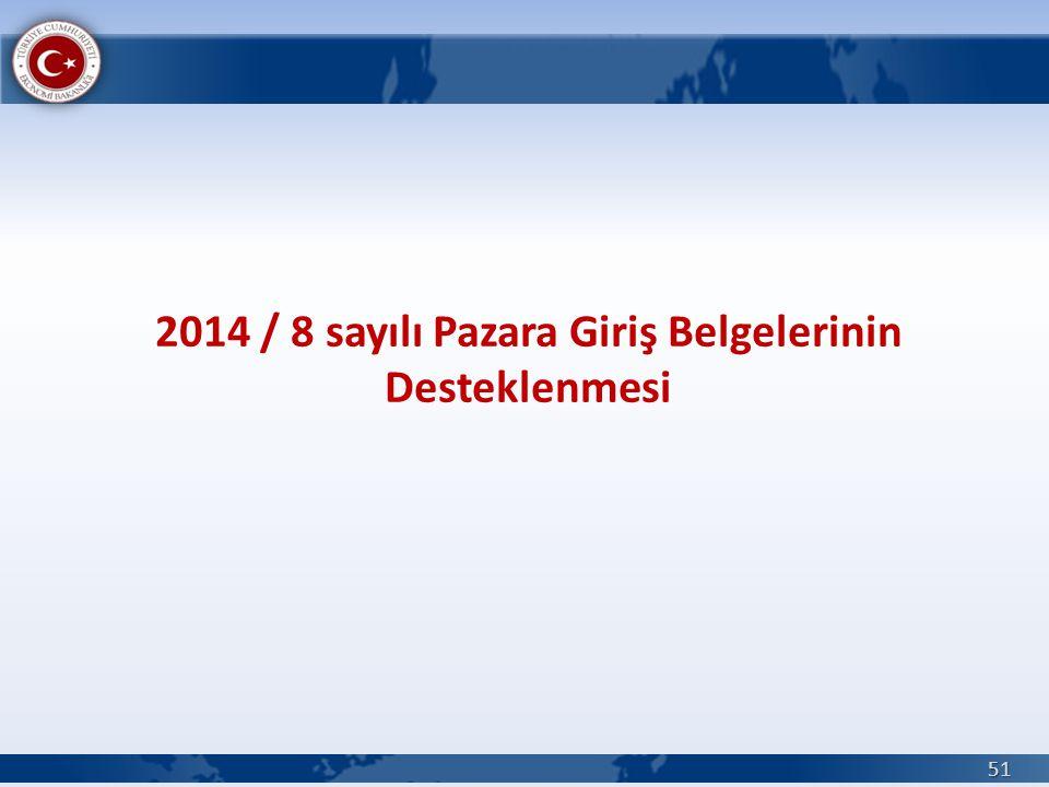 2014 / 8 sayılı Pazara Giriş Belgelerinin Desteklenmesi