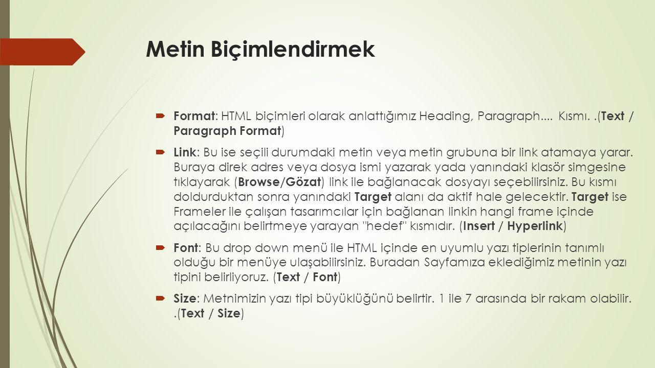 Metin Biçimlendirmek Format: HTML biçimleri olarak anlattığımız Heading, Paragraph.... Kısmı. .(Text / Paragraph Format)