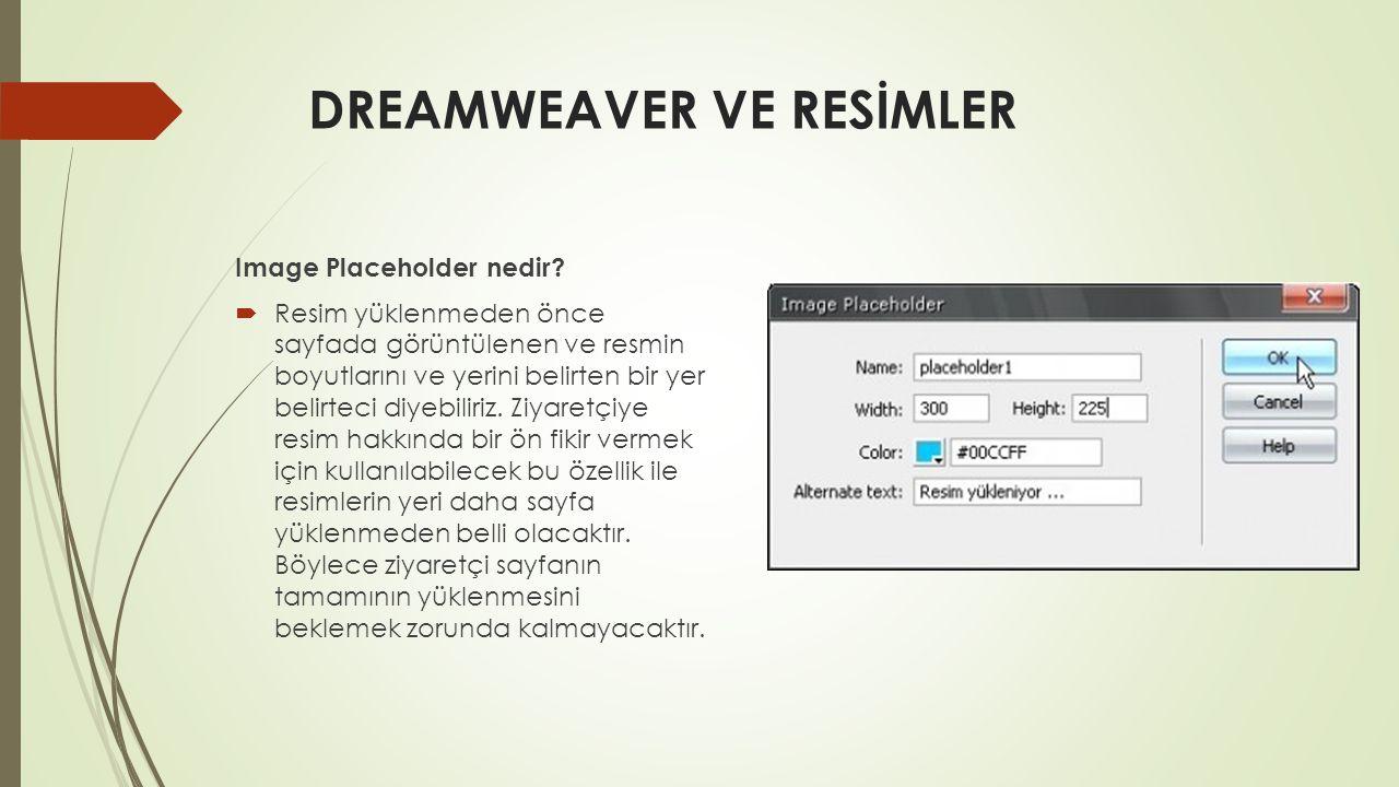DREAMWEAVER VE RESİMLER