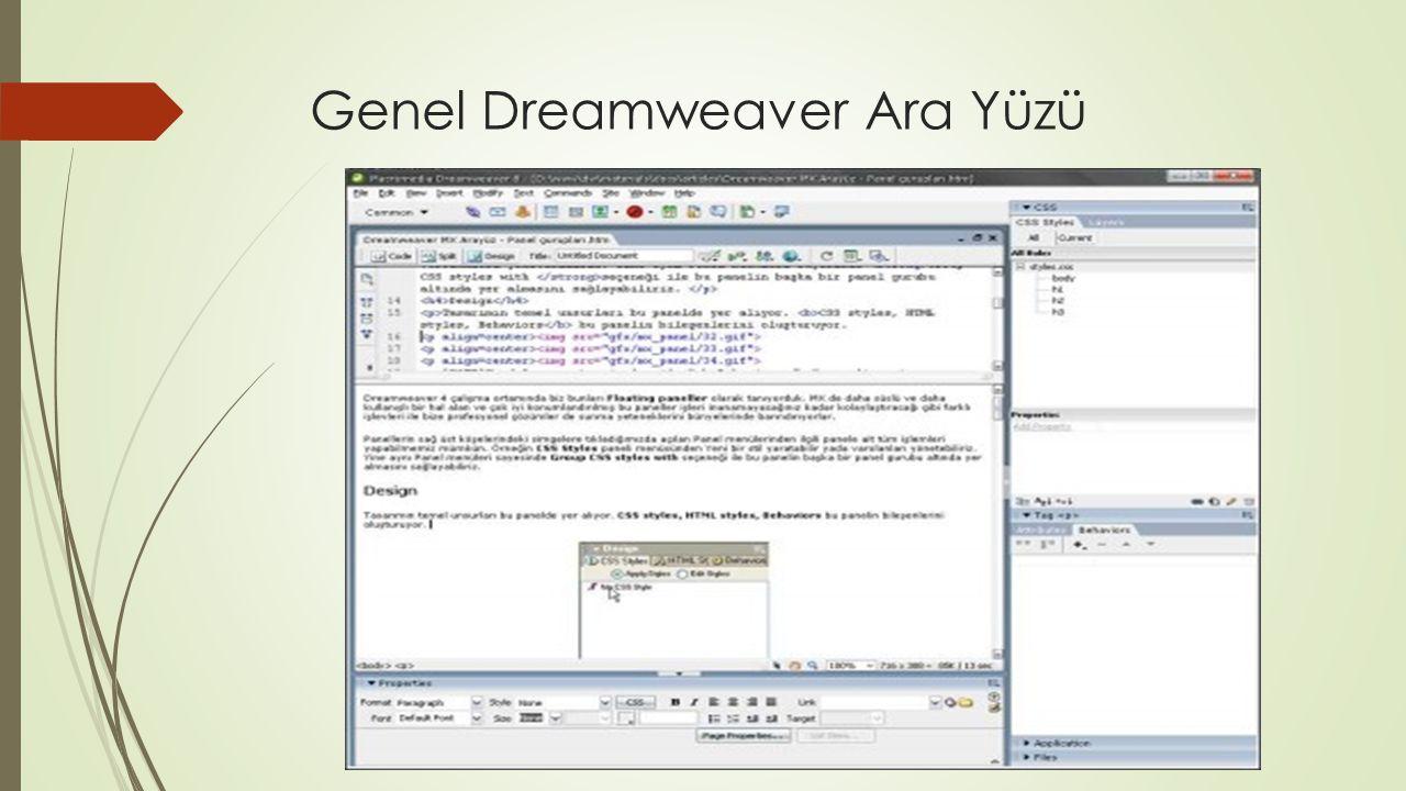 Genel Dreamweaver Ara Yüzü