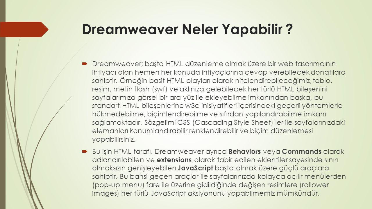 Dreamweaver Neler Yapabilir