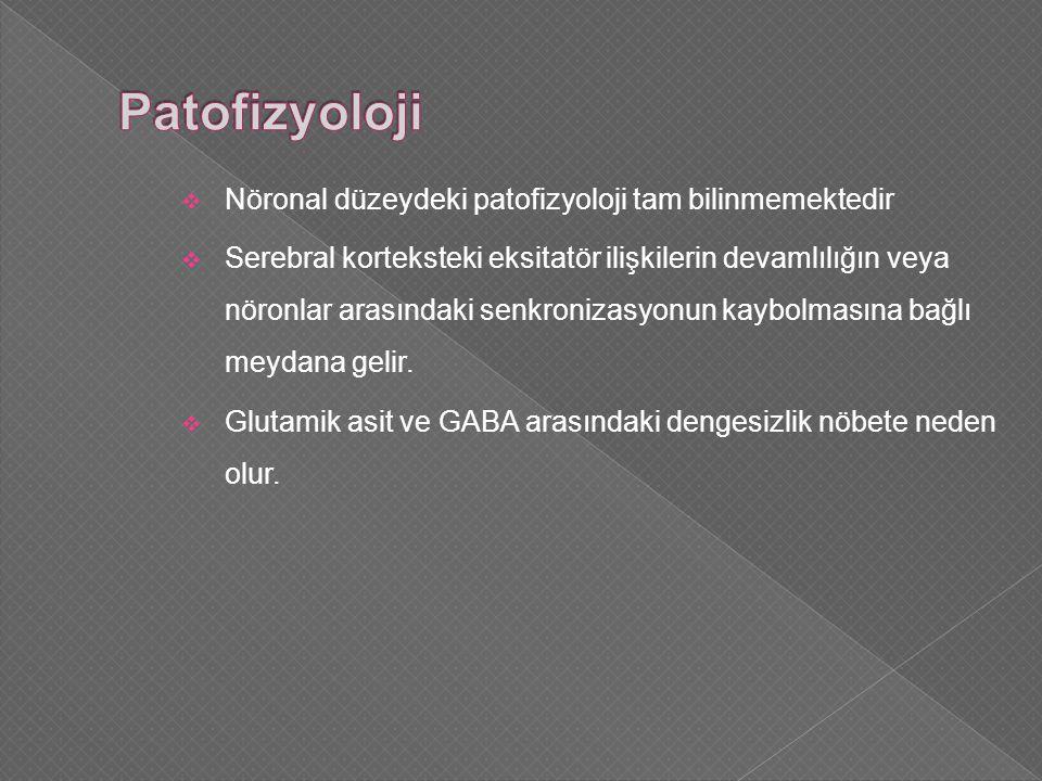 Patofizyoloji Nöronal düzeydeki patofizyoloji tam bilinmemektedir