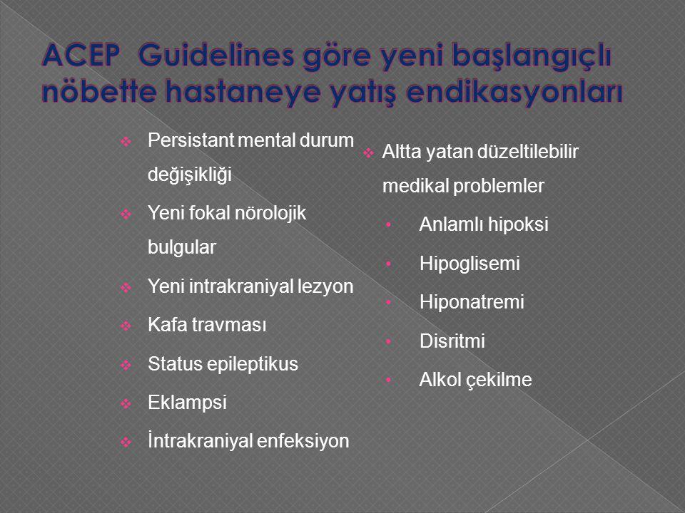 ACEP Guidelines göre yeni başlangıçlı nöbette hastaneye yatış endikasyonları