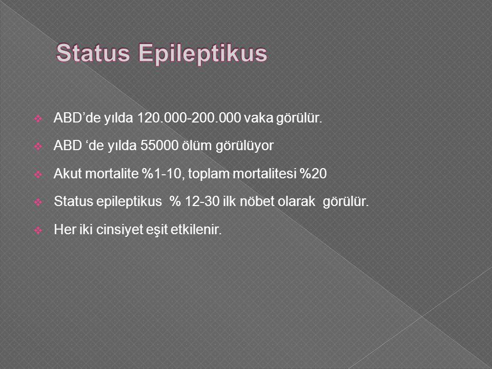 Status Epileptikus ABD'de yılda 120.000-200.000 vaka görülür.