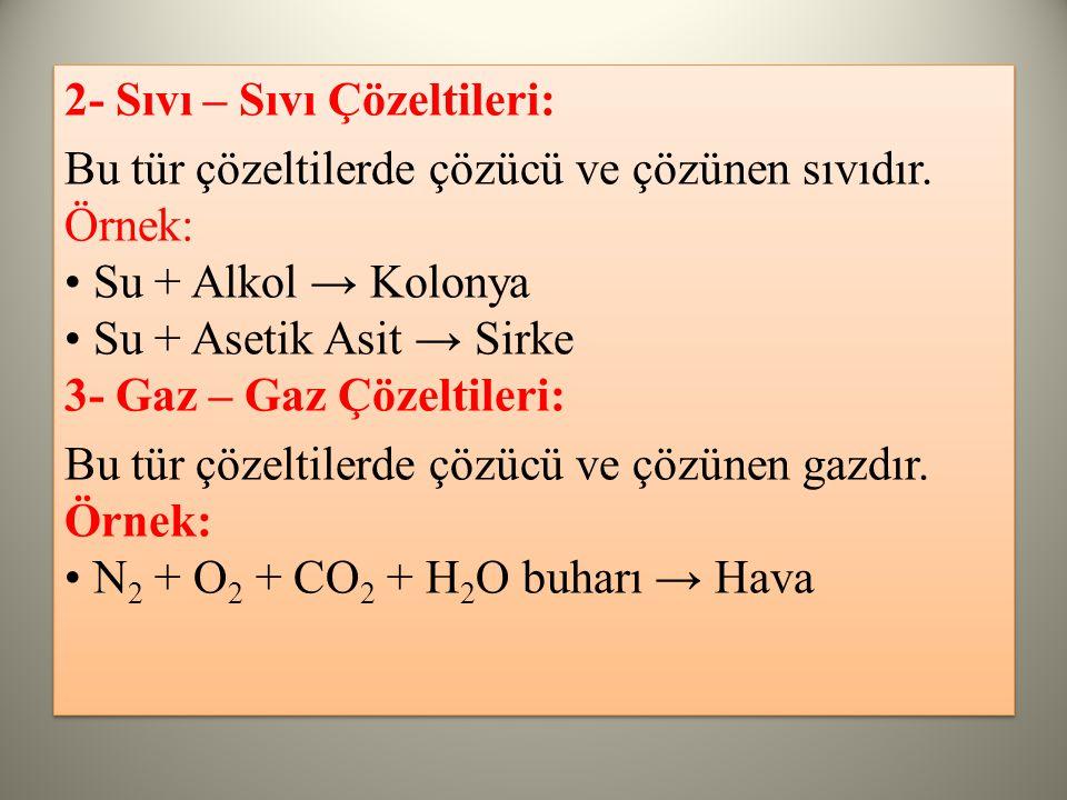 2- Sıvı – Sıvı Çözeltileri: Bu tür çözeltilerde çözücü ve çözünen sıvıdır.
