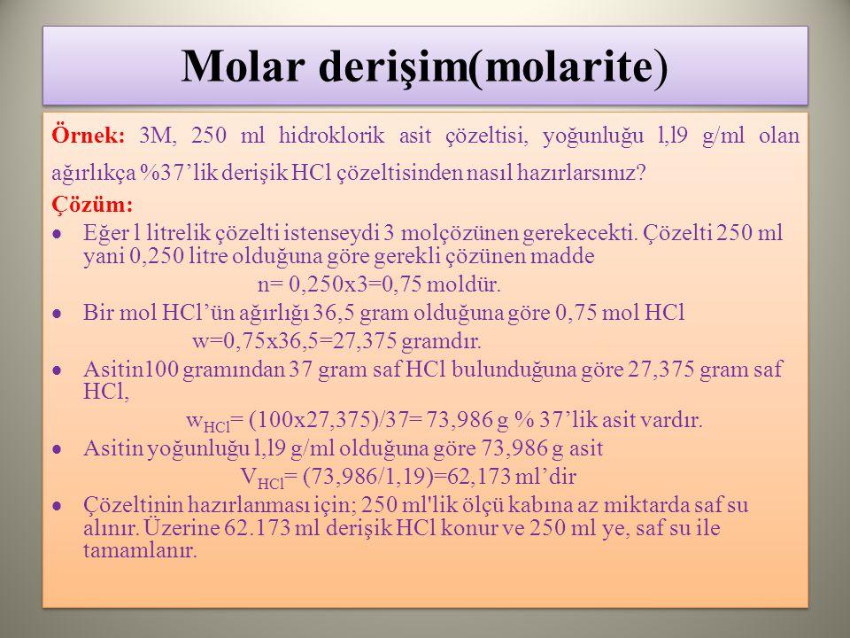 Molar derişim(molarite)