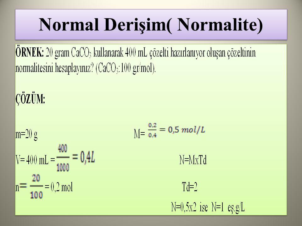 Normal Derişim( Normalite)