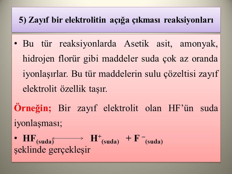 5) Zayıf bir elektrolitin açığa çıkması reaksiyonları