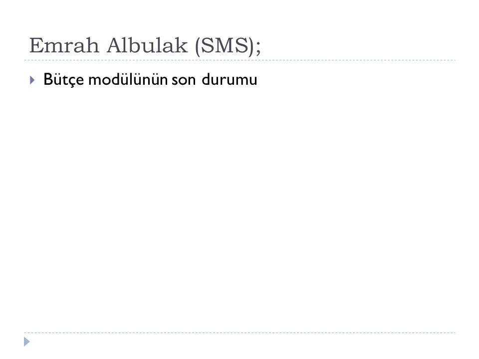 Emrah Albulak (SMS); Bütçe modülünün son durumu