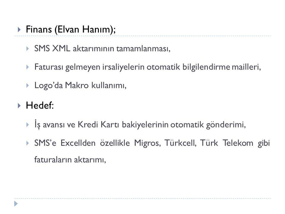 Finans (Elvan Hanım); Hedef: SMS XML aktarımının tamamlanması,