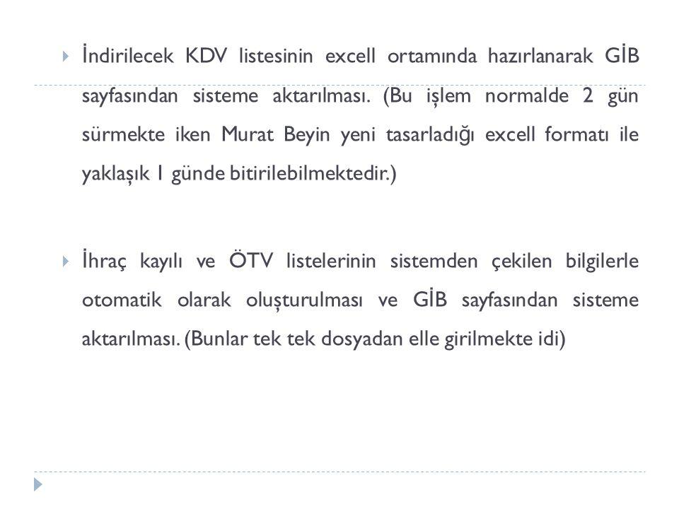 İndirilecek KDV listesinin excell ortamında hazırlanarak GİB sayfasından sisteme aktarılması. (Bu işlem normalde 2 gün sürmekte iken Murat Beyin yeni tasarladığı excell formatı ile yaklaşık 1 günde bitirilebilmektedir.)