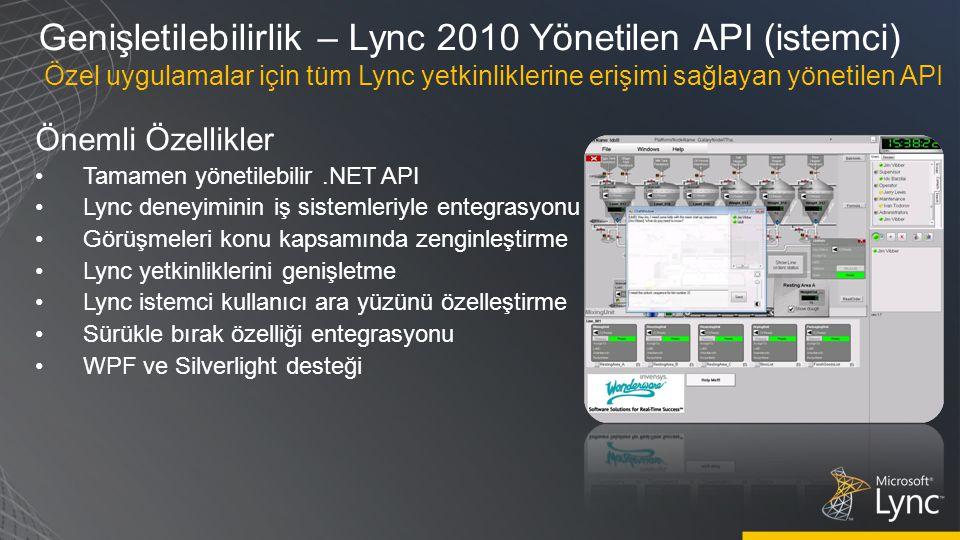 Genişletilebilirlik – Lync 2010 Yönetilen API (istemci)