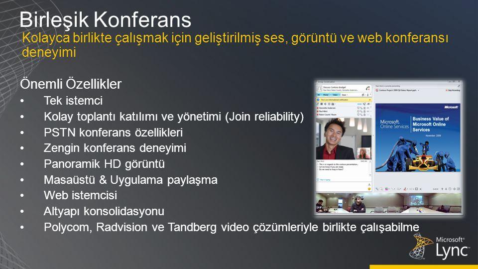 Birleşik Konferans Kolayca birlikte çalışmak için geliştirilmiş ses, görüntü ve web konferansı deneyimi.