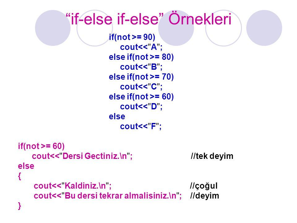 if-else if-else Örnekleri