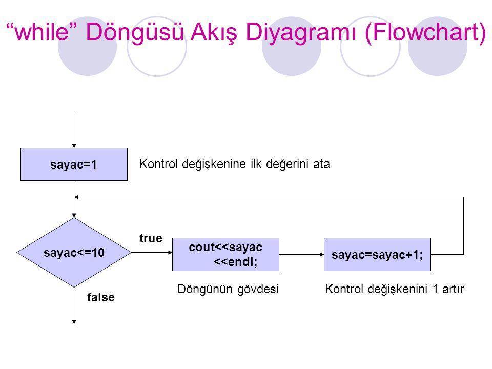 while Döngüsü Akış Diyagramı (Flowchart)