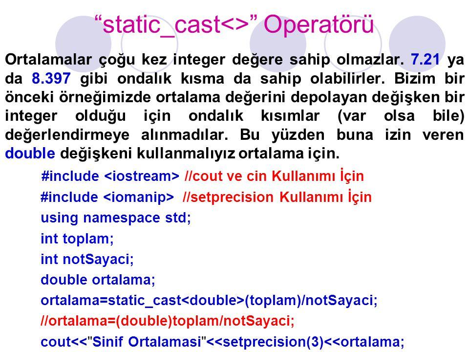 static_cast<> Operatörü