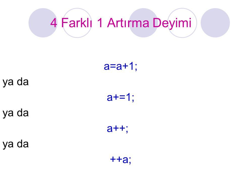 4 Farklı 1 Artırma Deyimi a=a+1; ya da a+=1; a++; ++a;