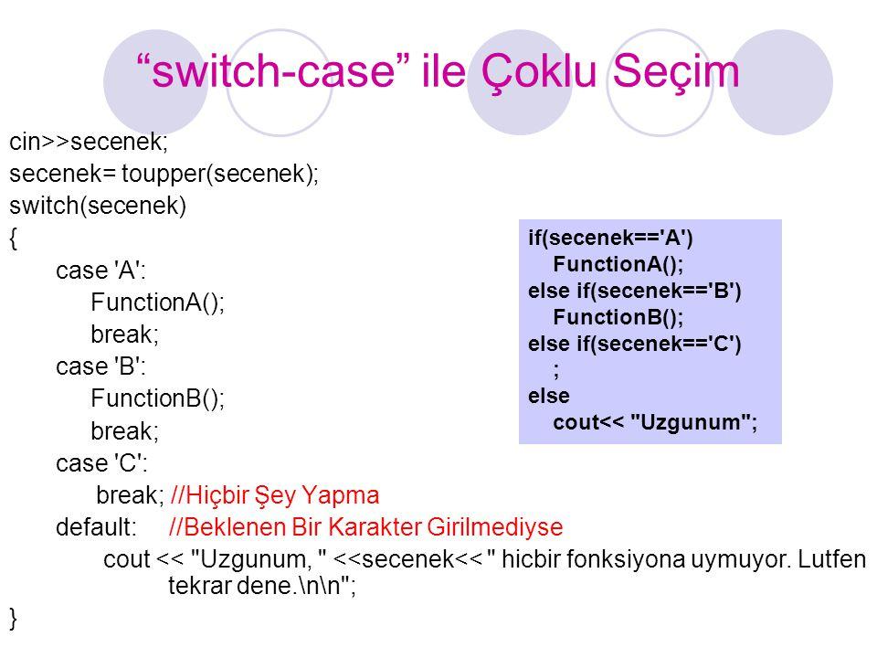 switch-case ile Çoklu Seçim