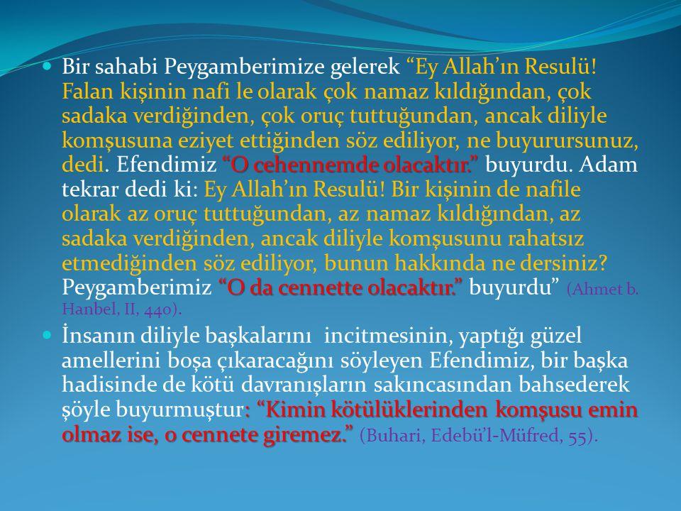 Bir sahabi Peygamberimize gelerek Ey Allah'ın Resulü