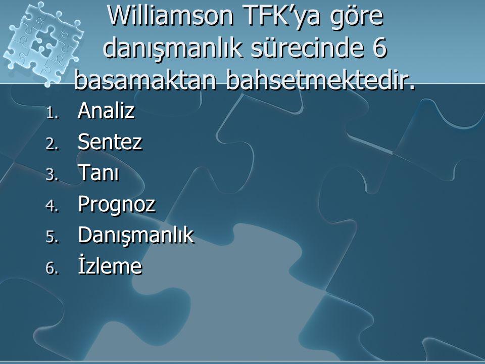 Williamson TFK'ya göre danışmanlık sürecinde 6 basamaktan bahsetmektedir.