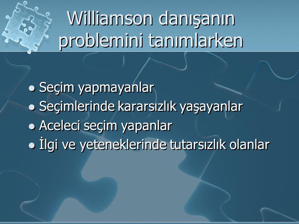 Williamson danışanın problemini tanımlarken