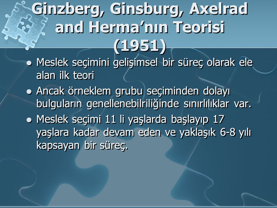 Ginzberg, Ginsburg, Axelrad and Herma'nın Teorisi (1951)