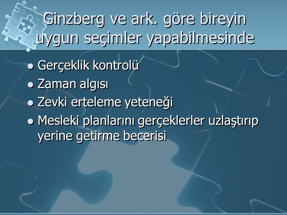 Ginzberg ve ark. göre bireyin uygun seçimler yapabilmesinde